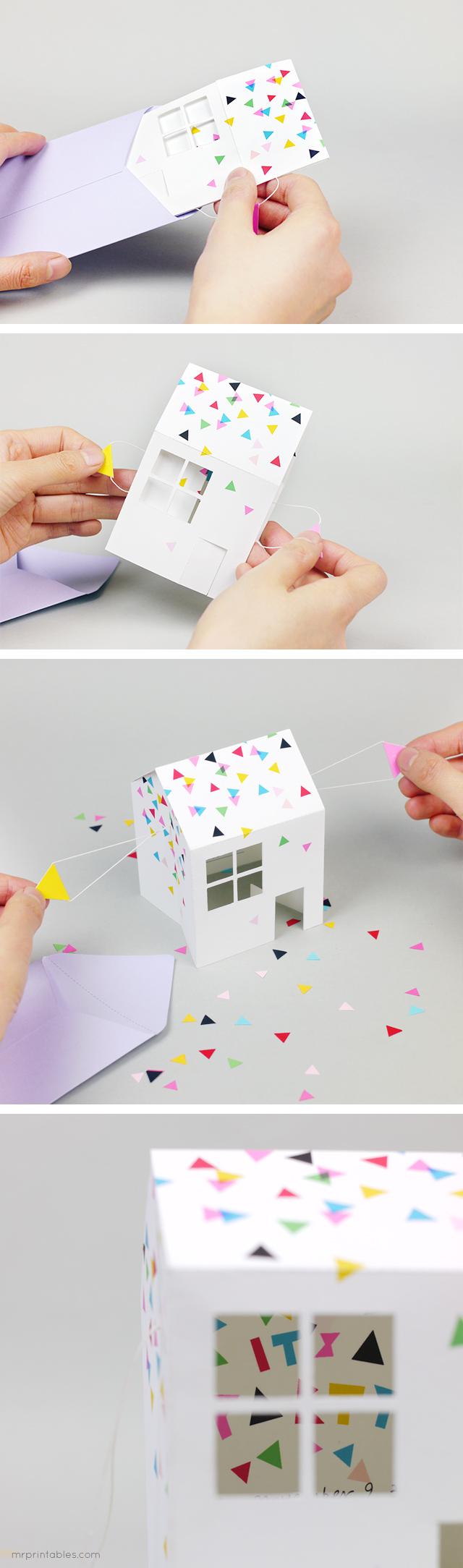 pop up house party invitation mr printables. Black Bedroom Furniture Sets. Home Design Ideas