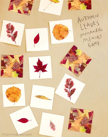 Autumn Leaves Memory Game Mr Printables